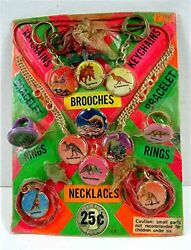 Dinosaur Rings Charms Toys Prizes Old Gumball Vend Machine Display Card 150