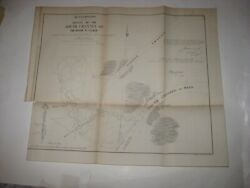 Large Superb Antique 1854 River St Clair Michigan Dated Map Detailed Fine Rare