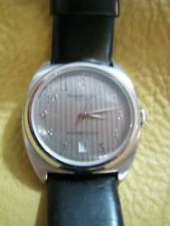 Kenneth Cole-black Leather Band Silver Tone 1-1/2case Runs Well N Sharp Look