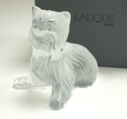 LALIQUE CHIEN DOG SITTING YORKSHIRE TERRIER FROST CRYSTAL FIGURINE PAPERWEIGHT
