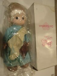 Precious Moments 1993 Timmy The Angel Doll In Blue Robe W/ Patch Blanket