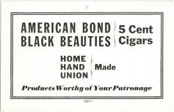 American Bond And Black Beauties 5 Cent Cigar Cardboard Advertising Sign