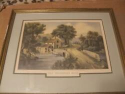 Currier And Ives Original Lithograph The Roadside Mill Framed Certified