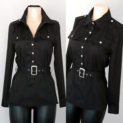 NEW Black Cotton Spandex Blend Long Sleeves Belted Utility Slim Tunic Shirt Top