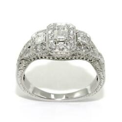 1.00 Ct Round And Emerald Cut Diamonds Three-stone Engagement Ring In 14k Gold