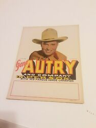 Vintage Gene Autry And Company In Person Announcement Poster Nos