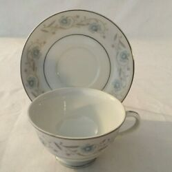 Fine China Japan English Garden Platinum Footed Cup And Saucer Sets - Set Of 4