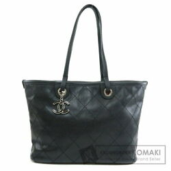 Chanel Coco Mark Stitch Design Tote Bag Caviar Skin Women Second Hand