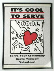Keith Haring It's Cool To Serve Poster Community Volunteer Basquiat Warhol Rare