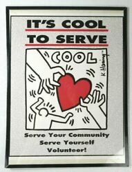 Keith Haring Itand039s Cool To Serve Poster Community Volunteer Basquiat Warhol Rare