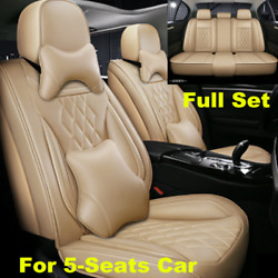 Luxury Pu Leather Car Seat Cover Cushion Pad 5d Surround Breathable Full Seat
