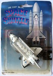Vintage Early 80's Die Cast Metal Space Shuttle With Space Lab Made In Hong Kong