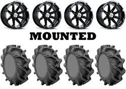 Kit 4 High Lifter Outlaw 3 Tires 38x9-22 On Msa M12 Diesel Black Wheels Can