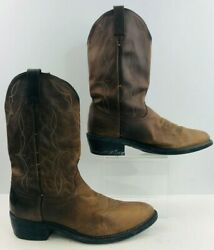 Men's Dan Post Brown Round Toe Leather Work Western Cowboy Boots Size : 12 D