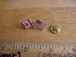 Usa American Flag Crossed Canadian Flag 1980s Pin Tie Tac Unique Vintage