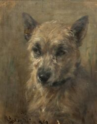 19th Century Portrait Of A Grey Terrier Dog