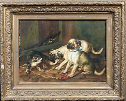 19th Century French School Pug Puppies & Tabby Cat Barn Scene Signed Painting