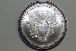 Cool Rim Toned 2002 American Silver Eagle Mint State Stock Se-2002-33