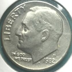 1982 D Roosevelt Dime With Doubling On Date, In God We Trust, Liberty 1