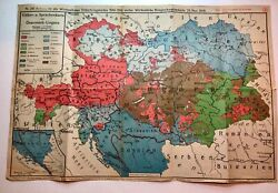 Antique Original Map Ww1 1918s Austria Is Growing Out Of Germany Very Rare Wwi