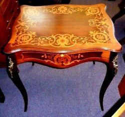 Antique Marquetry Table.ormolu Topped Cabriole Legs.edges W/beaded Metal.1920