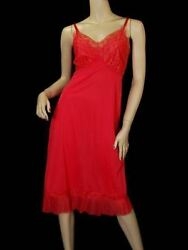Vintage Luxite Holeproof Full Slip Deep Coral 1950s Size 36 S M