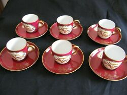 Beautifull 6 Cups And Saucers Pillivuyt Limoges Porcelain Firebirds Decorated