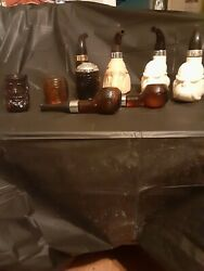 GROUP OF 8 AVON PIPE DECANTER#x27;S