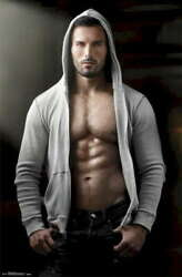 317381 Male Body Pinup Grey Hoody Abs Photography Wall Print Poster