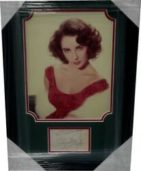 Elizabeth Taylor Hand Signed Autograophed Cut Framed W/ Gorgeous Photo Beckett