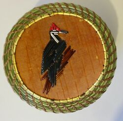 Pileated Woodpecker Larger Round Coiled Sweetgrass Basket-paul St. John-mohawk