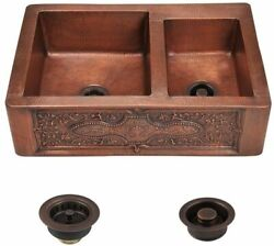 Hand-hammered Copper Farmhouse Apron Sink Offset Double Bowl W/strainer And Flange