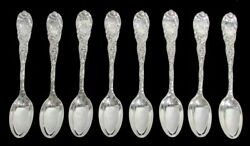 And Co 8 Chrysanthemum 4 1/2 Sterling Silver Demitasse Spoons