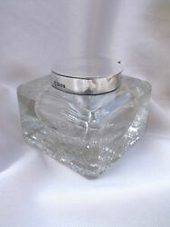 Antique Silver Glass George Nathan And Ridley Hay Ink Bottle Inkwell Chester 1903