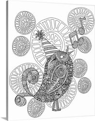 Diy Coloring Book Canvas Art Entitled Singing Bird - Black And White