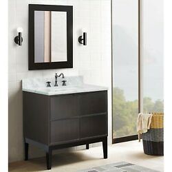 37 Single Wall Mount Vanity In Linen Gray Finish Top With White Carrara And ...