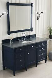 Brittany 60 Single Vanity Victory Blue With 3 Cm Charcoal Soapstone Quartz T...