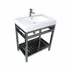 Cisco 30 Stainless Steel Console W/ White Acrylic Sink Andograve Chrome