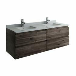 Formosa 60 Wall Hung Double Sink Modern Bathroom Cabinet With Top And Sinks