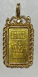 5 Gram .9999 Gold Credit Suisse Bar With Decorative 14 Kt Rope Bezel And Diamond