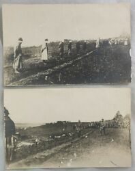 Antique Wwi Postcard Lot Before And After German Execution Blindfolded Prisoners