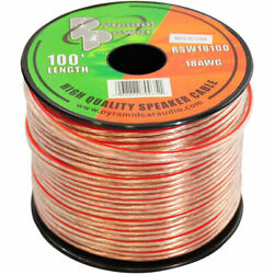 100and039 Ft Roll 18ga Clear Car And Home Audio Stereo Speaker Wire Cable 18 Gauge Awg