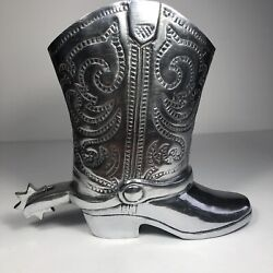 Decorative Metal Cowboy Western Boot Vase With Spinning Spur Made In India 9
