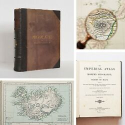 1872 Very Rare Antique Imperial Atlas Of Modern Geography By W. G. Blackie