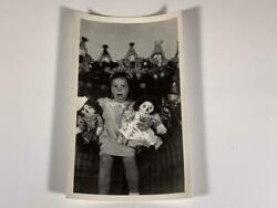 C.1950 Girl Posing With Clowns, Raggedy Anne Dolls Vintage Photo