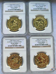 China 1980 Winter Olympics Complete Set Of 4 Coins,ngc Pf66-pf68,rare