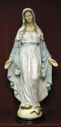 Lady Of Grace Hand-painted Alabaster On A Wood Base 36 Statue Made In Italy.