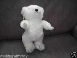 Plush Doll Figure Vintage 1984 Jointed Gorham White Bear Bears Of The Month