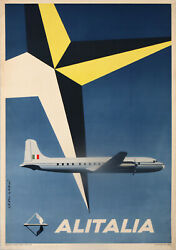 Alitalia Douglas Dc-4 By Garu In 1954 Rare New Wave Airlines Vintage Poster