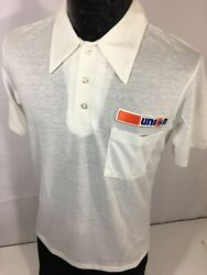 Nos New Vtg 80and039s Unocal Union 76 Logo Oil And Gas Station 50/50 Corp Polo Shirt M